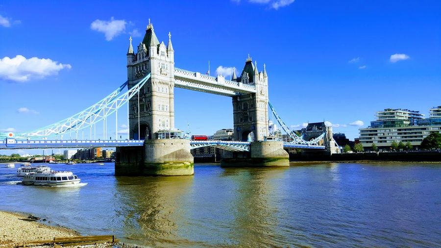 London Tower Bridge by my mobile camera Bascule Bridge Bridge - Man Made Structure Building Exterior Built Structure Day Outdoors River Sky Suspension Bridge Travel Destinations Water First Eyeem Photo