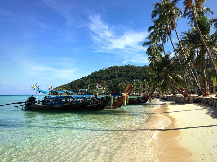 Beach Travel Photography Travel Destinations Thailand ASIA Sky Tree Nautical Vessel Palm Tree Nature Water Beauty In Nature Day Sea Transportation Outdoors Sunlight Tranquility Beach Longtail Boat Cloud - Sky No People Scenics