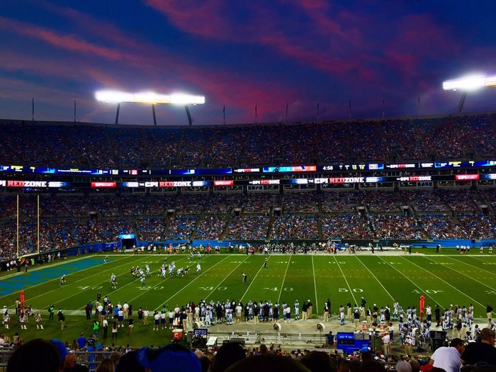 Football season begins Carolina Panthers Keep Pounding!!!! Stadium Sport Large Group Of People Crowd Football American Football - Sport NFL NFL Football Football Fever Football Stadium Football Game Audience Spectator Fan - Enthusiast Illuminated Night Real People Competition Outdoors Men Excitement Grass Togetherness Sports Team Match - Sport Summer Sports