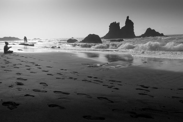 Benijo Beach Beauty In Nature Clear Sky Day Nature No People Outdoors Sand Scenics Sea Silhouette Sky Tenerife Tenerife Island Tranquil Scene Tranquility Water Black And White Friday