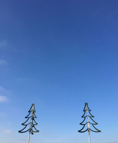 Blue Chain Of Lights Christmas Tree Clear Sky Day Decoration Dekoration Lichterkette Low Angle View No People Outdoors Sky Tannenbaum Tree