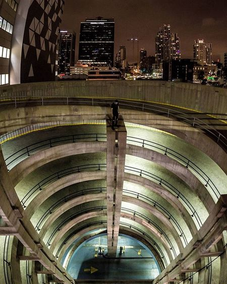 Exploring downtown on Friday with @dripcult revealed some great spots. This parking garage was perfect for a wide-angle photomerge of 6 shots. The curves in the circular ramps mask the distortion of the photomerge. Happy exploring, but wear the right shoes. My feet were killing me the next day! (1/40, 5000 ISO, f/2.8) 16mm, Canon 5d Mark iii ____________________________ Big_shots Nextlevellookdown Always_On_Top Illest_shots Illgammers Lookdownseason Worldshotz Photo_rush Cool_capture OnTop Extremerush Aboveitall Meistershots Grammasters3 Yngkillers Sonwelit Fatalframes Fatalframes Acreativevisual Createcommune _heater Moodygrams TurnUpTheBrightness CameraRaw Killyourcity celebrateyourcity Igerssandiego countyofsandiego rethinksandiego allthingssd