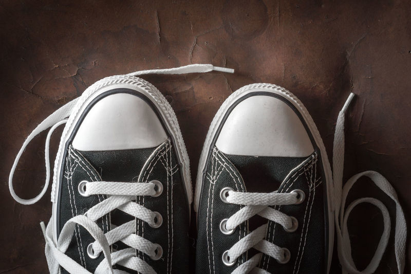 High angle view of shoes on floor