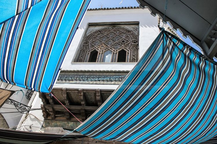 Tunis Blue City Day House Low Angle View No People Pattern Window