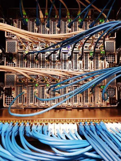 Close-up of network server