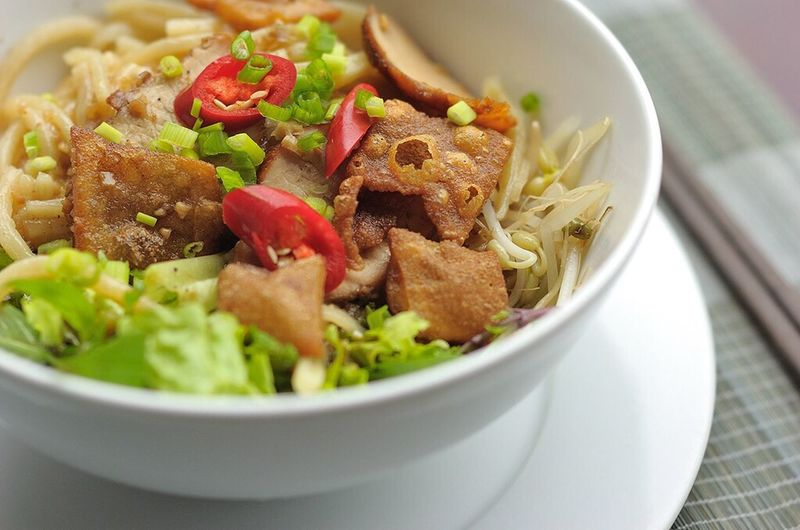 Close-up of serving noodles in bowl