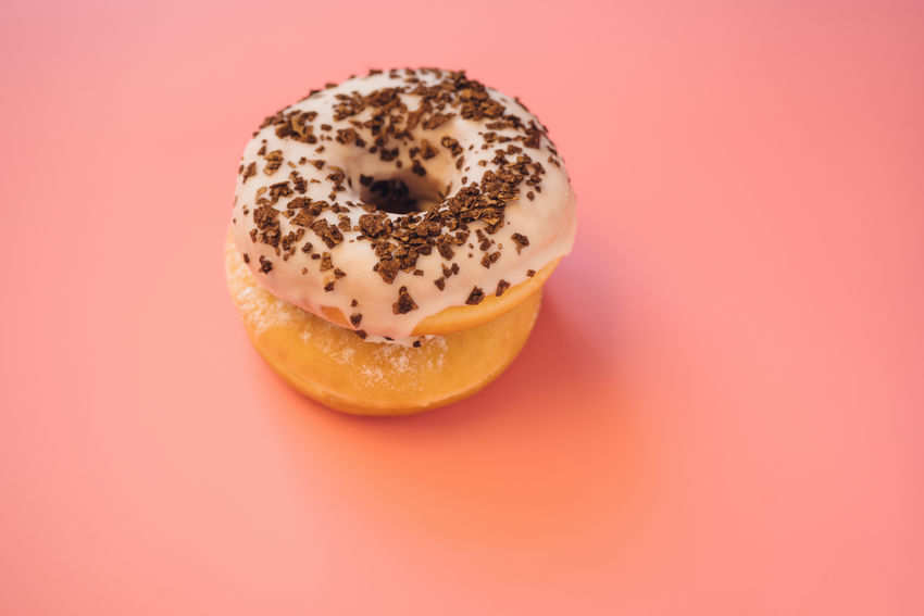 Baked Close-up Donut Food Food And Drink Freshness No People Pink Background Pink Color Ready-to-eat Snack Sweet Sweet Food