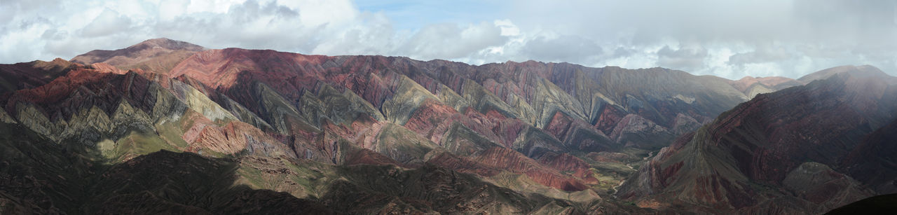 Andes Argentina Beauty In Nature Day Depression - Land Feature Geology Hornocal Humahuaca Landscape Mountain Mountain Range Multi Colored Nature No People Outdoors Panoramic Physical Geography Rock - Object Rock Face Scenics Sky Tranquility Travel Destinations Wilderness Area