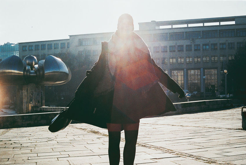 Analogue Photography Beauty Building Exterior City City Cold Day Fashion Film Leisure Activity Lens Flare Light And Shadow Namestie Slobody Outdoors Portrait Of A Woman Retro Socialism Street Streetphotography Sunlight Winter Woman