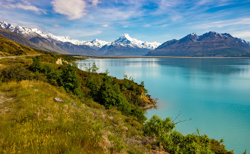 Lake Pukaki in the southern lakes region of new zealand Mt Cook, New Zealand New Zealand, South Island, West Coast Aor Idyllic Lake Lake Tekapo Landscape Mountain Scenics - Nature Southern Alps Tranquility Water