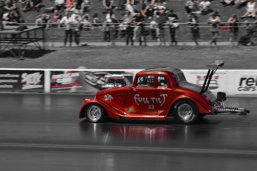 Coloursplash Red Black And White Photography Drag Racing Supercharged  Racetrack Happy Days At The Track Santa Pod Dragstalgia Santa Pod Quarter Of A Mile Car Photography Motorsport Dragster