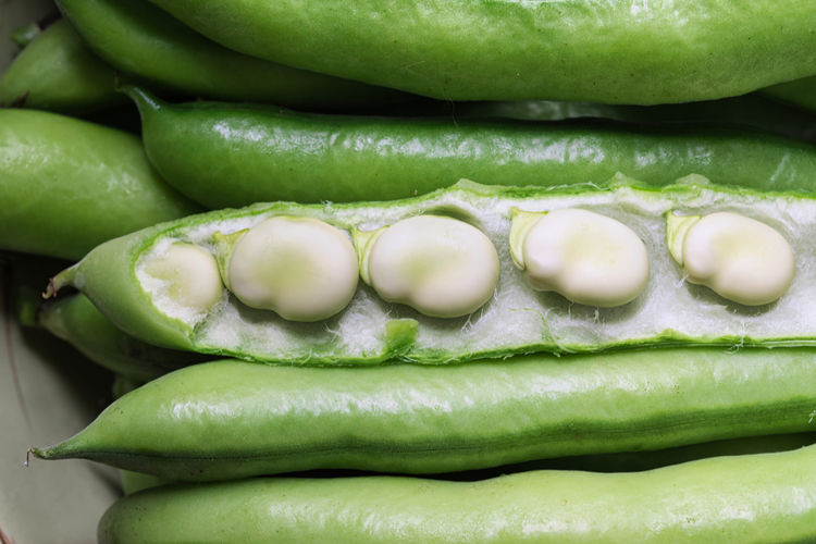 Close-up of green chili peppers