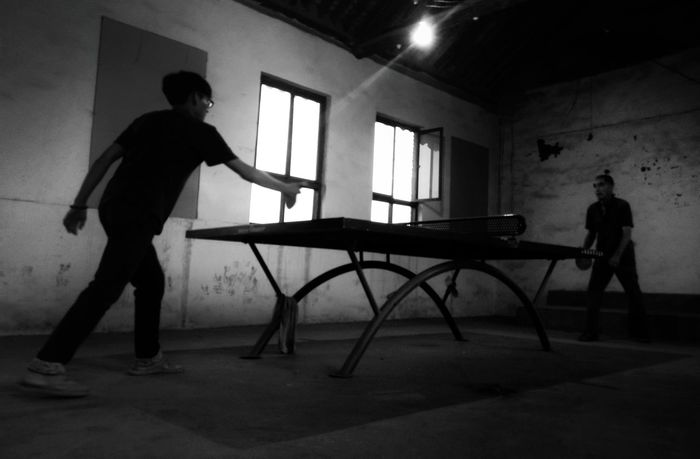 PhonePhotography Black And White Portrait Black And White Collection  Black And White Photography Black & White Black And White Friendship Enjoying Life Leisure Leisure Activity PingPongTime.. Pingpong Table Tennis Playing Table Tennis Country Life Countryside Life My Friend Life In The Country  Grandfather And Grandson Home Is Where The Art Is