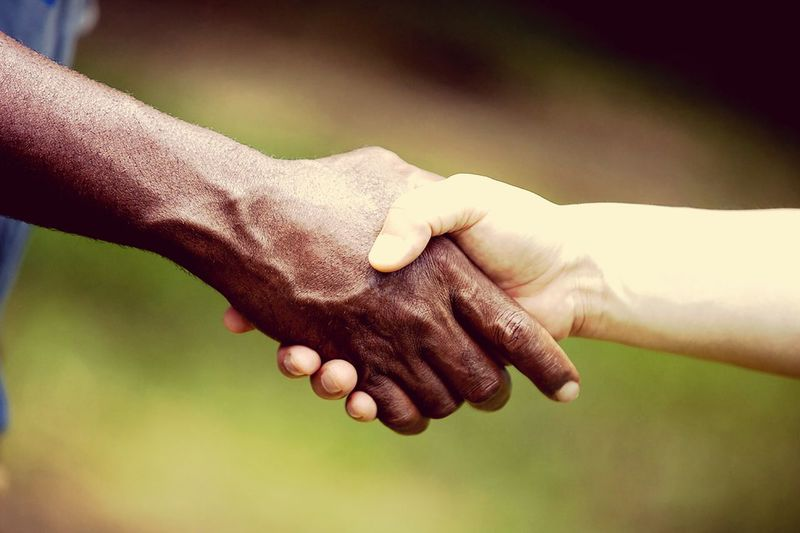 Close-Up Of People Shaking Hands In Park