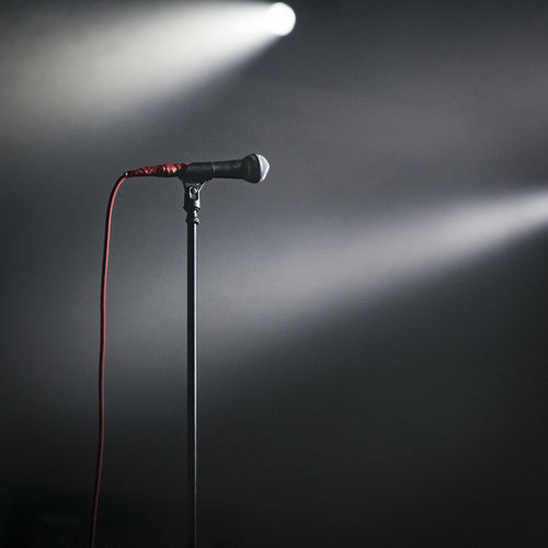 Stage light falling on microphone