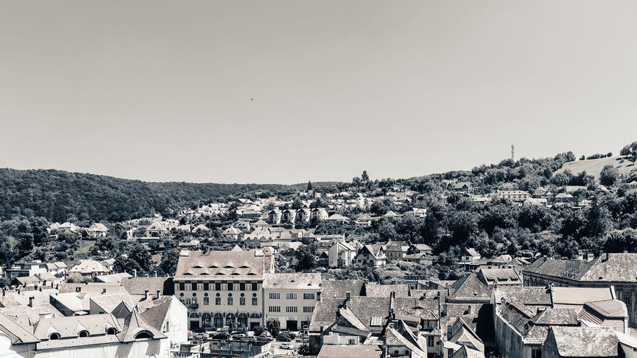 High angle shot of townscape against clear sky