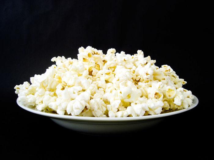 Pop Corn Popcorns Popcorn🌽👌 Black Background Studio Shot Bowl Eating Black Color Close-up Food And Drink Popcorn Film Industry