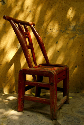 Abandoned Antique Chair Chinese Chinese Chair Close-up Day Indoors  No People Old Old-fashioned Rusty Shadow Sunlight Wood - Material Paint The Town Yellow