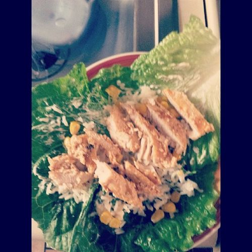 Chipotle chicken/Lettuce Wrap/ Rice&Corn Delicious Food Tasty Musttry  easy2do