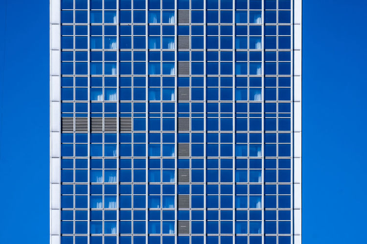 Bluemonday Architecture_collection Berlin Photography Cityscape Façade Architecture Berlinmalism Blue Blue Background Blue Monday Bluemonday Building Building Exterior Built Structure Clear Sky Fujix_berlin Fujixe3 Fujixseries Minimalism Minimalobsession Modern No People Pattern Ralfpollack_fotografie Skyscraper