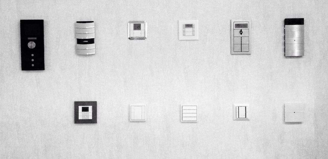 Things Organized Neatly Switch Black & White Button Negative Space iPhone 4S