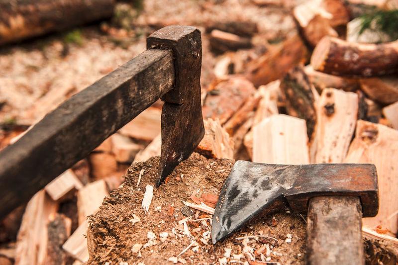 Close-up of rusty metal axe