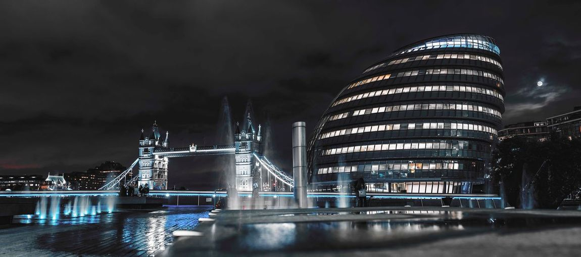 Night Architecture Illuminated Built Structure Building Exterior Sky Travel Destinations Cloud - Sky Modern Water Outdoors Waterfront City Skyscraper No People Storm Cloud Cityscape Nature london illuminated London Nightphotography