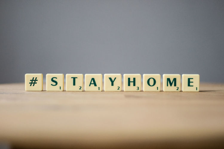 Stay home text on table