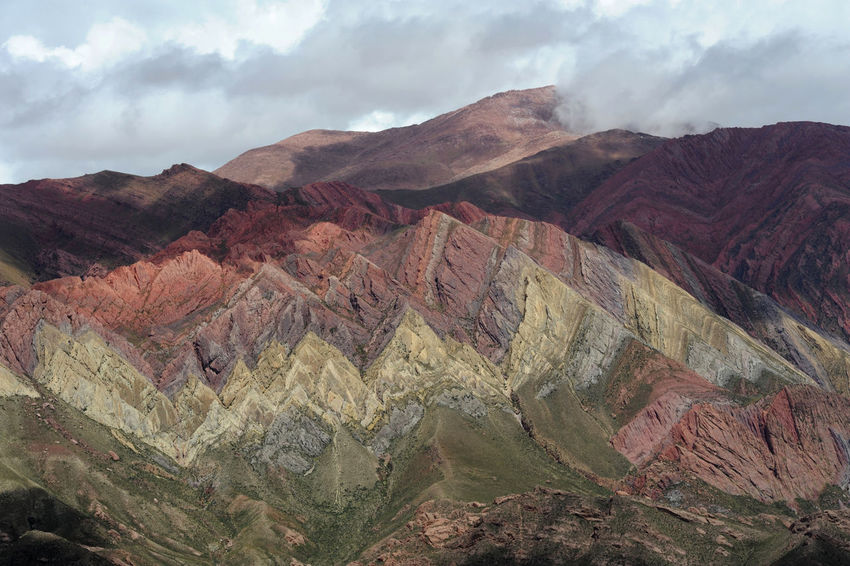 Andes Argentina Arid Climate Beauty In Nature Cloud - Sky Day Geology High Angle View Hornocal Humahuaca Landscape Mountain Mountain Range Nature No People Outdoors Physical Geography Rock - Object Scenics Sky Tranquil Scene Tranquility Travel Destinations