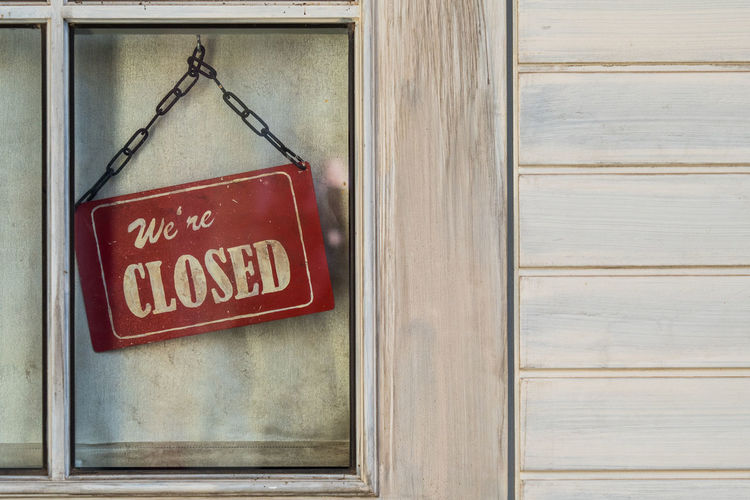 Closed Sign in old window Architecture Building Exterior Close-up Closed Closed Sign Day No People Outdoors Text