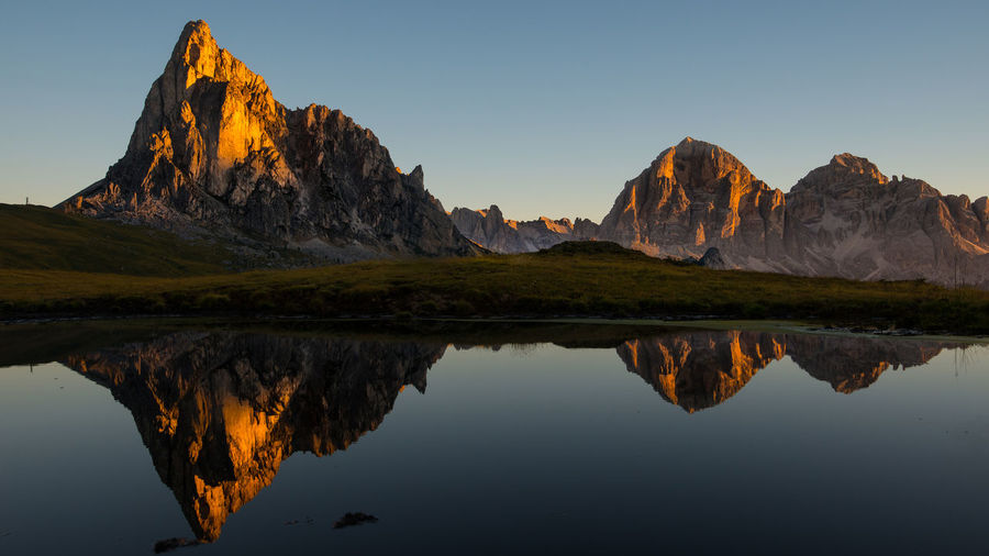 Passo di Giau sunrise Beauty In Nature Day Dolomites Dolomites, Italy Lake Mountain Mountain Range Nature No People Outdoors Passo Giau Reflection Scenics Sky Tranquil Scene Tranquility Tyrol Water Waterfront