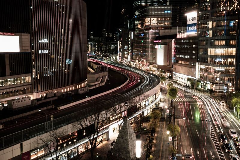 Travel Destinations City Life City View  City Lights Ginza Tokyo Japan Backgrounds Tokyo Night City Lights Tokyo Street Photography Architecture Built Structure Building Exterior City Night Transportation Illuminated High Angle View Road Track Travel Building Land Vehicle Outdoors Motion Railroad Track Rail Transportation Mode Of Transportation No People Street
