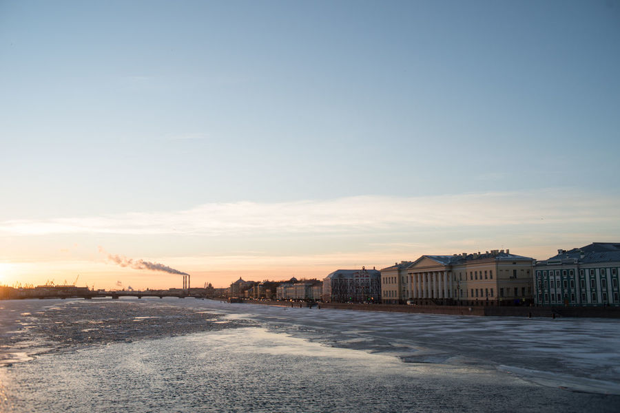 The view of Vasilievsky Island and the river Neva Architecture Beauty In Nature City Cityscape Day Ice Ice Covered  Nature No People Outdoors River Scenics Sky Sunset Travel Destinations Water