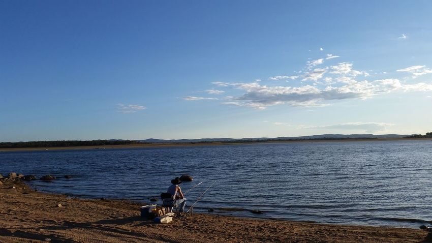 One Person Only Men One Man Only Outdoors Fishing Time Water Sky Leisure Activities