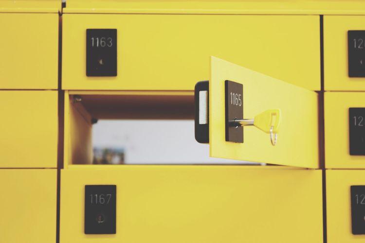 Full Frame Of Yellow Lockers