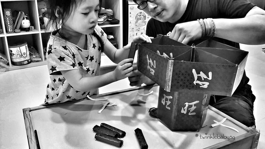 1st DIY CNY dec 2016 by my princess Twinklebabysg LovingLife Father And Daughter EyeEm_crew Monochrome_life ChineseNewYear2016 Mylittleprincess EyeEm Bnw That's Me B&w Check This Out Lovelybaby Note3cam Monochromatic B&W Portrait