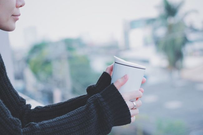 Holding One Person Lifestyles Outdoors Close-up People Human Hand Drink Coffee Tea Hot Drink Cold Temperature Warm Clothes Sweater Woman Relaxing Coffee Break Season