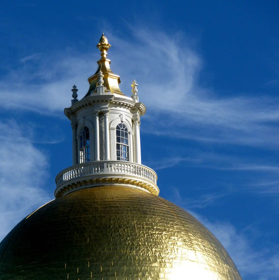 The roof of the Massachusetts State House Architecture Blue Building Exterior Built Structure Cloud - Sky Day Dome Gold Golden History Neighborhood Map No People Outdoors Roof Sky Statue Sunny Travel Destinations Massachusetts State House Rooftop Historic Gilded