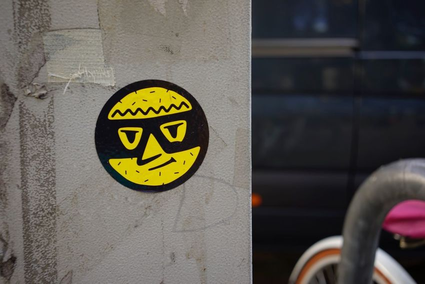 Sticker Communication Yellow No People Close-up Black Color Focus On Foreground Outdoors