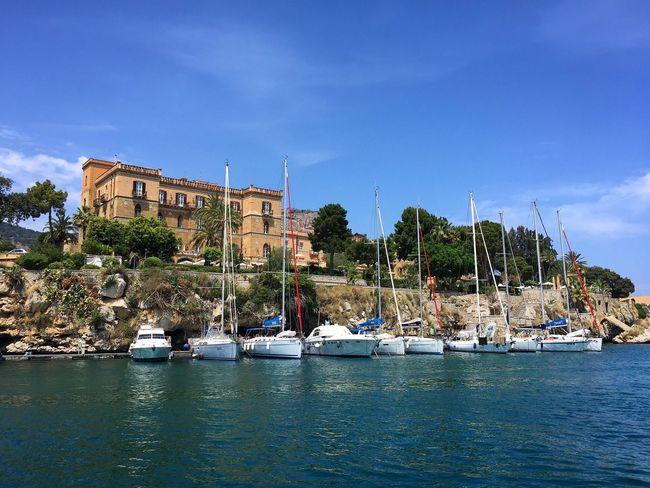 Palermo Villa Igea Harbour Boat Sicily Sky Sea Calm Blue