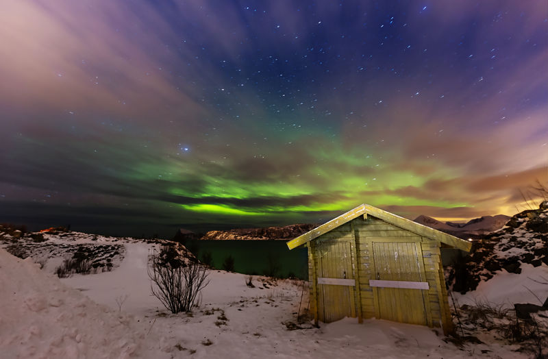 Snow Cold Temperature Winter Sky Tranquility Nature Night Landscape Astronomy Aurora Borealis Northern Lights Norway Sommarøy Long Exposure
