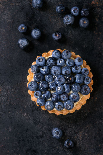 Lemon tartlet with fresh blueberries over black background. Top view. With space for text Berries Black Background Copy Space Desserts Lemon Tarte Shortbread Berry Tartlet Blackberry Blueberry Blueberry Tart Directly Above Food Lemon Zest Pastry Shortbread Tartlet Sweet Food Tart - Dessert Tartlet Texture Top View Of Food