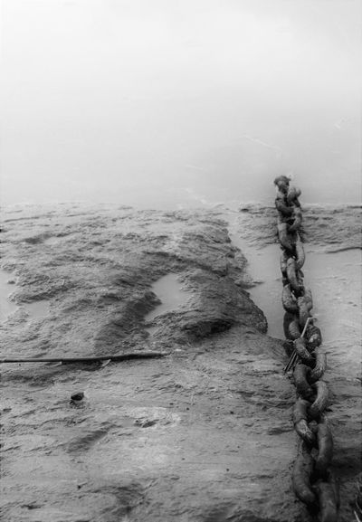 Beauty In Nature Blackandwhite Chain Day Into The Sea Nature No People Outdoors Rope Sky Strength Water