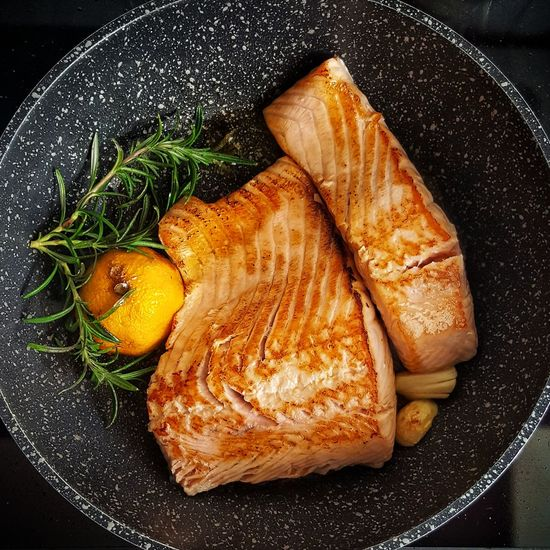 fresh fish Black Background Seafood High Angle View Close-up Food And Drink Served Caviar Salmon - Seafood Fillet Tuna Sushi Japanese Food