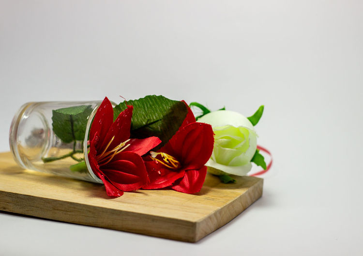 Close-up of red rose on white table