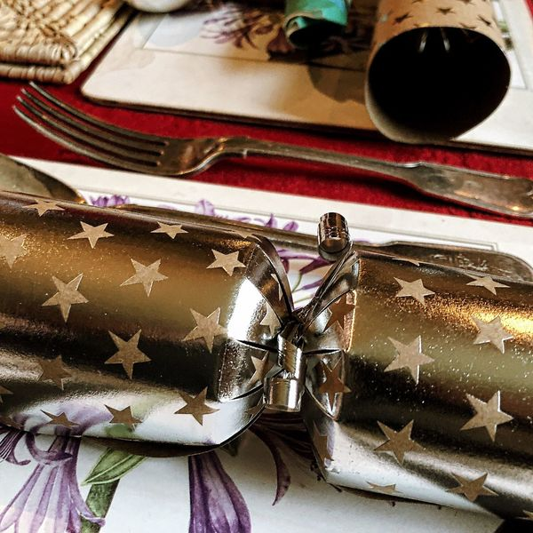Table Setting Fork Christmas Cracker Indoors  Table No People Close-up Paper Gift