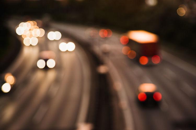 Defocused image of illuminated road