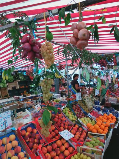 Market Multi Colored Fruits Vegetables