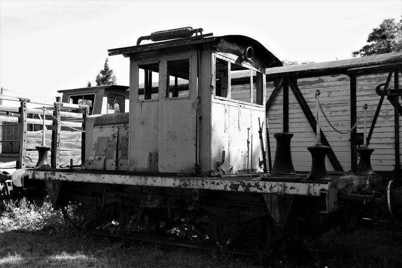 Black & White Normandie Normandie, France Abandoned Black And White Damaged Locomotive Mode Of Transport No People Obsolete Old Locomotive Old Train Outdoors Rail Transportation Railroad Track Train - Vehicle Transportation