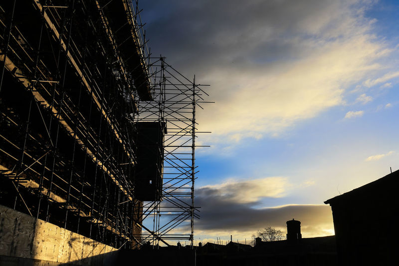 Ditherington Old Mill Site Renovation Repairs Scaffolding Shrewsbury Silhouette Architecture Building Exterior Built Structure Cloud - Sky Day Heritage Building Low Angle View Mill No People Outdoors Repairs, Redevelopment, Sky Sunset